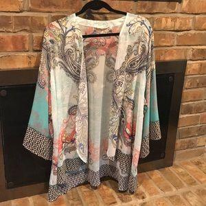 Chiffon Kimono with sequin trim on sleeves